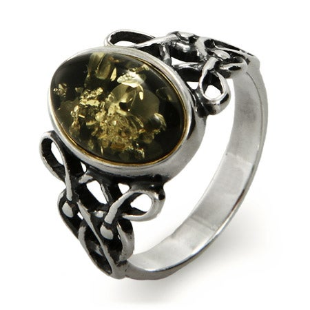 Woven Celtic Knot Genuine Green Baltic Amber Ring | Eve's Addiction®