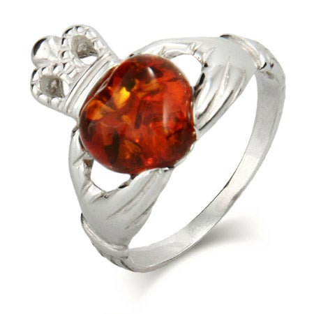 Genuine Baltic Amber Claddagh Ring in Sterling Silver | Eve's Addiction®