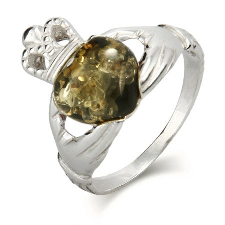 Genuine Green Baltic Amber Sterling Silver Claddagh Ring | Eve's Addiction®