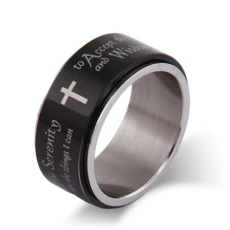 Engravable Serenity Prayer Spinner Ring