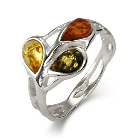 TriColor Baltic Amber Teardrop Silver Ring