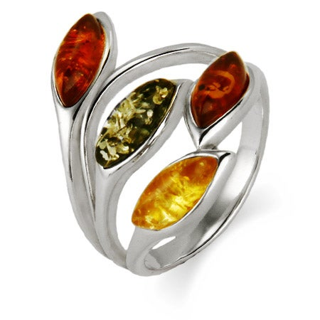 TriColor Baltic Amber Sterling Silver Leaves Ring | Eve's Addiction®