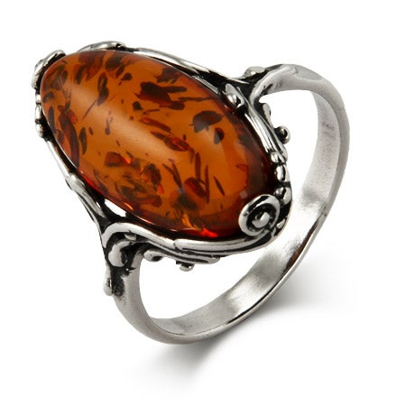 Classic Scroll Design Oval Cut Baltic Amber Silver Ring | Eve's Addiction®