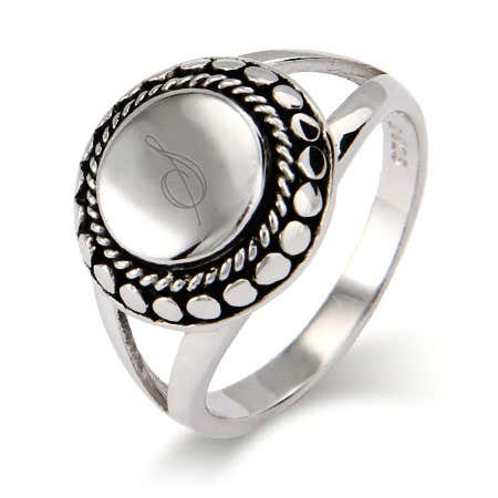 Designer Inspired Sterling Silver Engravable Signet Ring