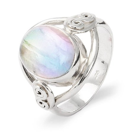 Sterling Silver Oval Rainbow Moonstone Ring | Eve's Addiction®