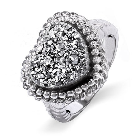 Sterling Silver Shimmering Dusk Drusy Heart Ring | Eve's Addiction®