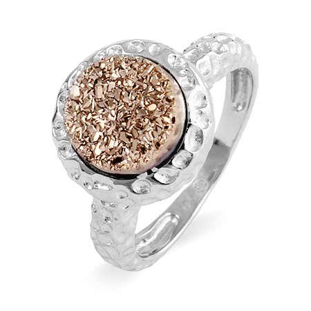 Sterling Silver Hammered Design Rose Drusy Ring | Eve's Addiction®