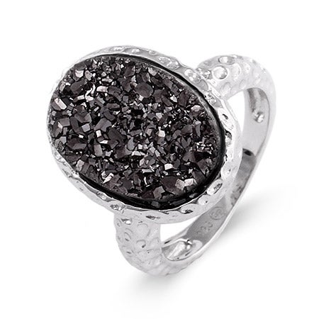 Sterling Silver Hammered Design Charcoal Drusy Ring | Eve's Addiction®