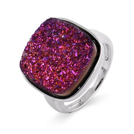Cushion Cut Purple Drusy Quartz Ring | Eve's Addiction