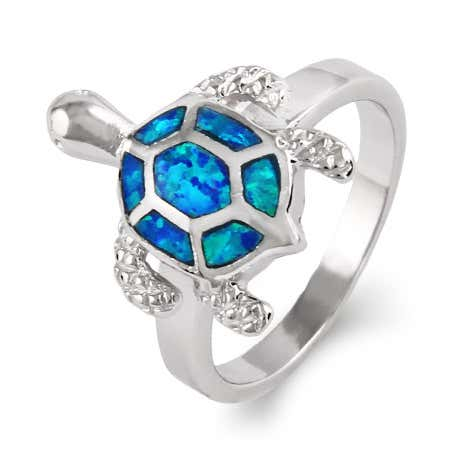 Sterling silver sea turtle ring and blue opal turtle ring at eves addiction