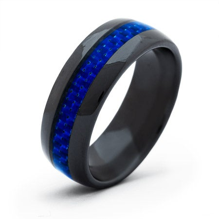 Men's Black Plate Ceramic Band with Blue Carbon Fiber Inlay | Eve's Addiction®