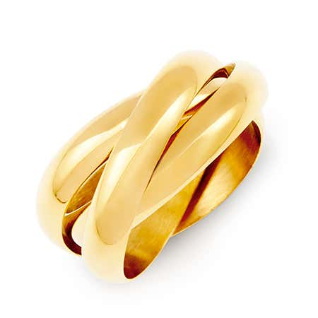 Engravable Gold Triple Roll Russian Wedding Ring | Eve's Addiction®