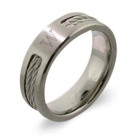 Men's Titanium Double Cable Engravable Signet Class Ring   Eve's Addiction®