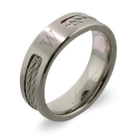 Men's Titanium Double Cable Engravable Signet Class Ring | Eve's Addiction®