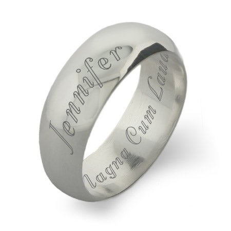 Classic 8mm Engravable Sterling Silver Graduation Band | Eve's Addiction®