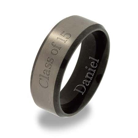 Brushed Silver Black Titanium Class Ring For Men