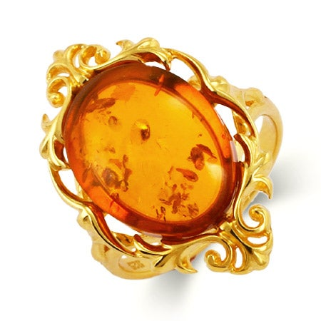 Vintage Style 24K Gold Vermeil Baltic Amber Ring | Eve's Addiction®