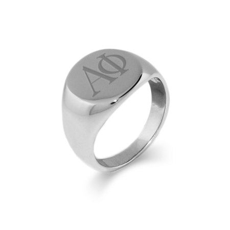 Alpha Phi Stainless Steel Oval Signet Ring | Eve's Addiction®