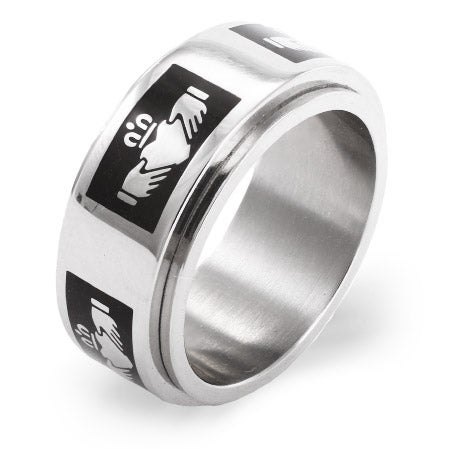Black Claddagh Engravable Spinner Ring | Eve's Addiction®
