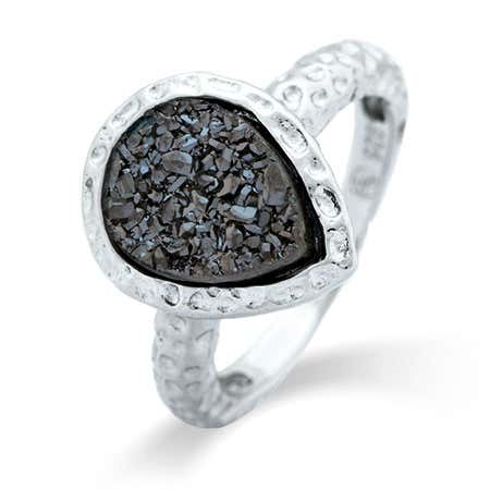 Pearcut Charcoal Drusy Sterling Silver Ring
