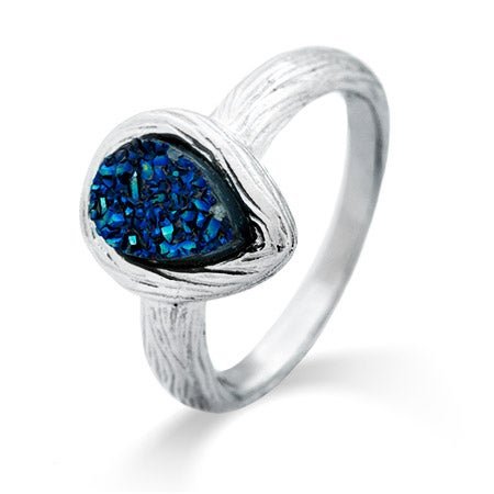 Wood Grain Design Periwinkle Drusy Sterling Silver Ring   Eve's Addiction®