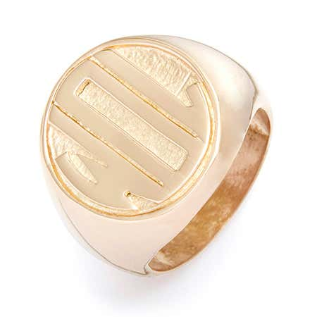 Gold signet ring and gold monogram ring with history of signet rings