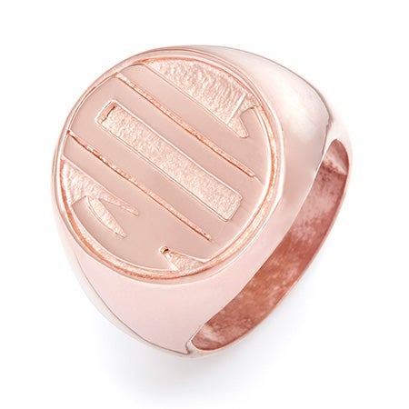 Block Monogram Rose Gold Vermeil Signet Ring | Eve's Addiction®