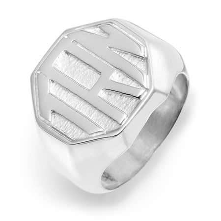Block Monogram Octagon Silver Signet Ring