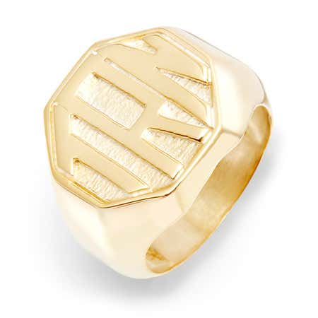 Block Monogram Octagon Gold Vermeil Signet Ring