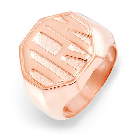 Block Monogram Octagon Rose Gold Vermeil Signet Ring | Eve's Addiction®