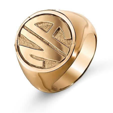 Block Two Initial Rose Gold Vermeil Signet Ring
