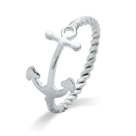 Sideways Anchor Sterling Silver Ring