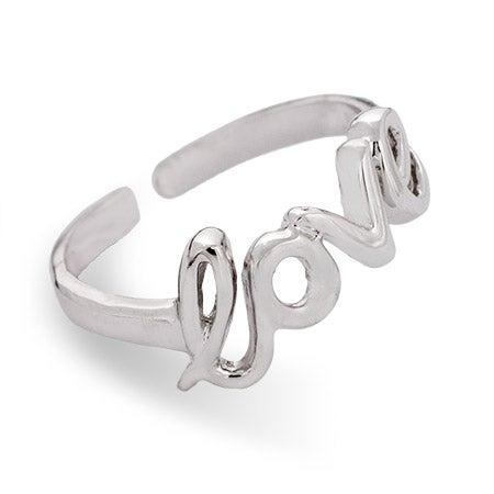 Script Love Midi Ring in Sterling Silver | Eve's Addiction®