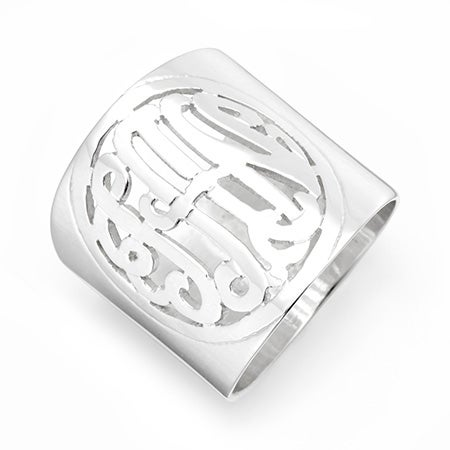 Cutout Cigar Band Monogram Ring in Sterling Silver | Eve's Addiction®