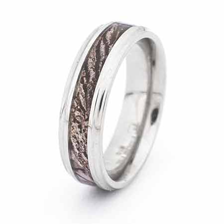 Camo Wood Design 6mm Stainless Steel Engravable Ring | Eve's Addiction®