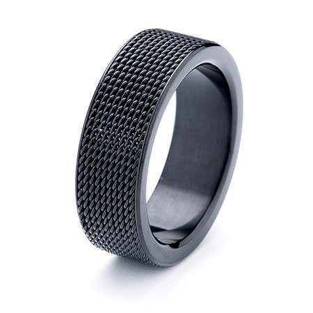 Engravable Mesh Black Stainless Steel Band