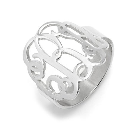 Fancy Script Monogram Sterling Silver Ring | Eve's Addiction®