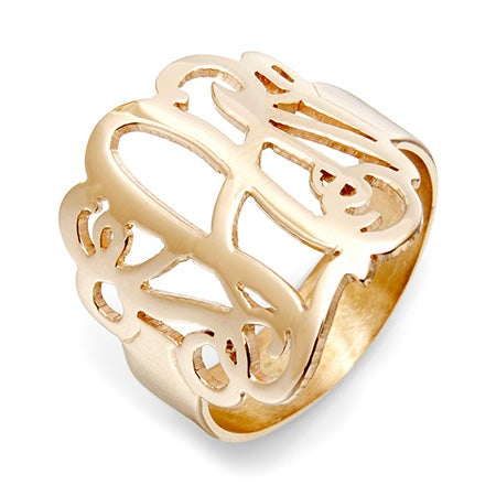 Fancy Script Monogram Gold Vermeil Ring | Eve's Addiction®