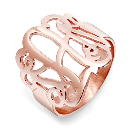 Fancy Script Monogram Rose Gold Vermeil Ring | Eve's Addiction®