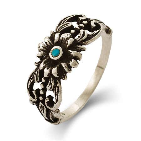 Turquoise Flower Ring in Sterling Silver | Eve's Addiction®