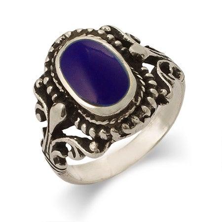 Sterling Silver Vintage Design Lapis Ring | Eve's Addiction®