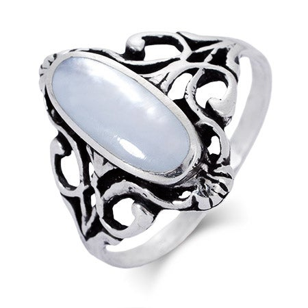 Sterling Silver Vintage Design Oval Mother of Pearl Ring | Eve's Addiction®