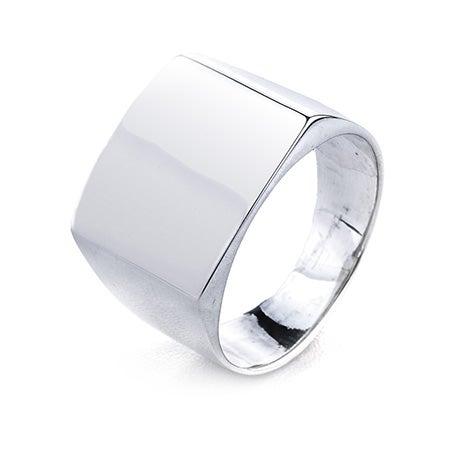 Silver Cushion Cut Engravable Signet Ring   Eve's Addiction®
