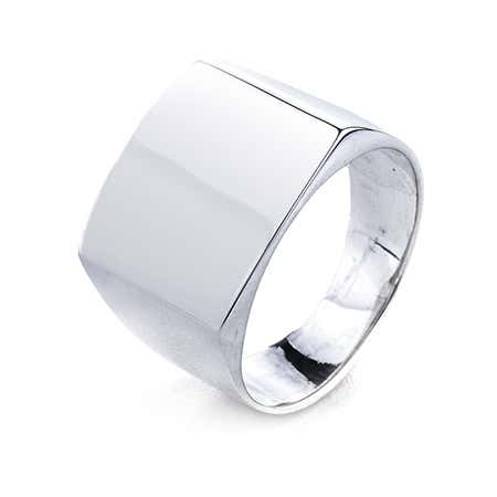 Silver Cushion Cut Engravable Signet Ring