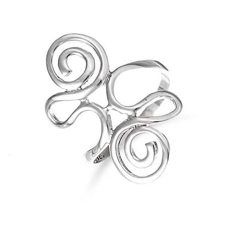 display slide 1 of 2 - Sterling Silver Swirling Ring - selected slide
