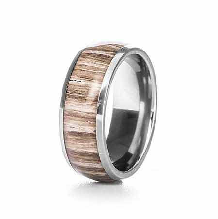 8mm Wood Inlay Titanium Ring