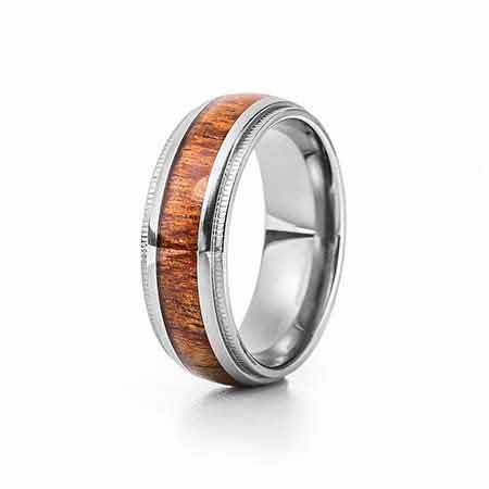 Men's Wood Inlay Titanium Ring with Milgrain Edge