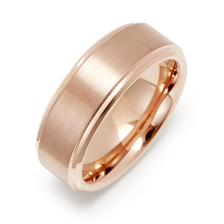 Men's Brushed Rose Gold Tungsten Ring | Eve's Addiction®