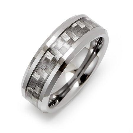 Men's Carbon Fiber Inlay Tungsten Ring   Eve's Addiction®