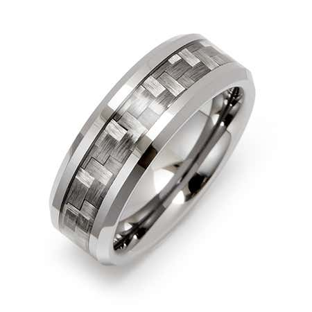 display slide 1 of 1 - Men's Carbon Fiber Inlay Tungsten Ring - selected slide